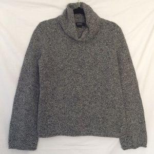 Express Grey Speckled Turtleneck Cropped Sweater
